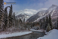 McDonald Creek with Garden Wall in winter in Glacier National Park, Montana, USA