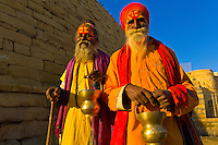 Saddhus (holy men) at the Jaisalmer Fort, Jaisalmer, Rajasthan, India