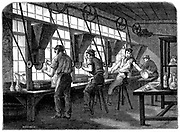 Glass cutters at their wheels. Vessel to be cut held against rotating wheel powered by steam through belt and shafting. Wood engraving c1870