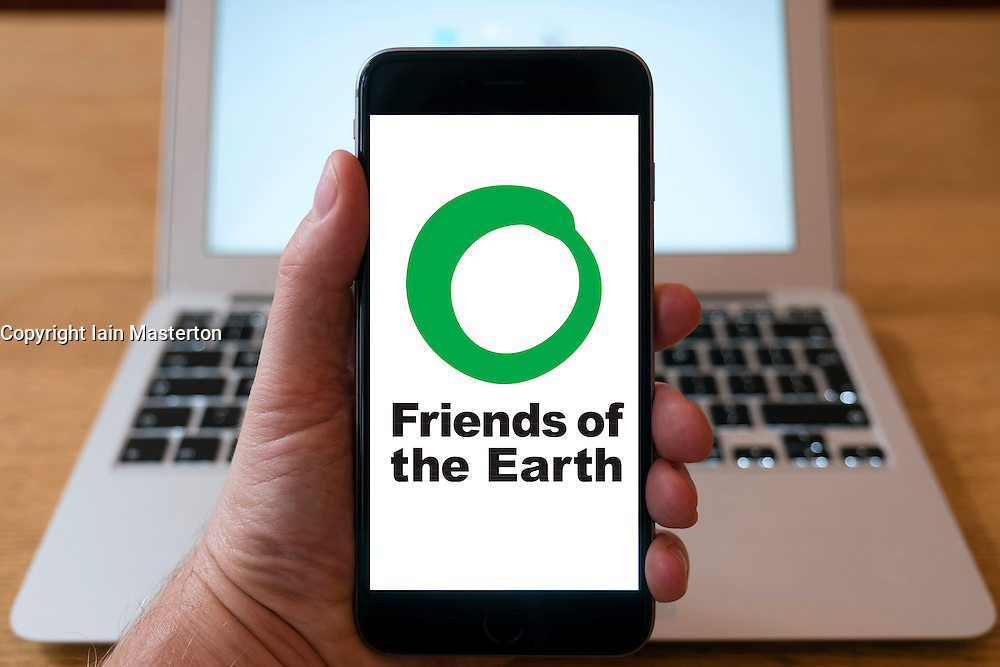 Friends of the Earth website home page on iPhone smart phone mobile phone