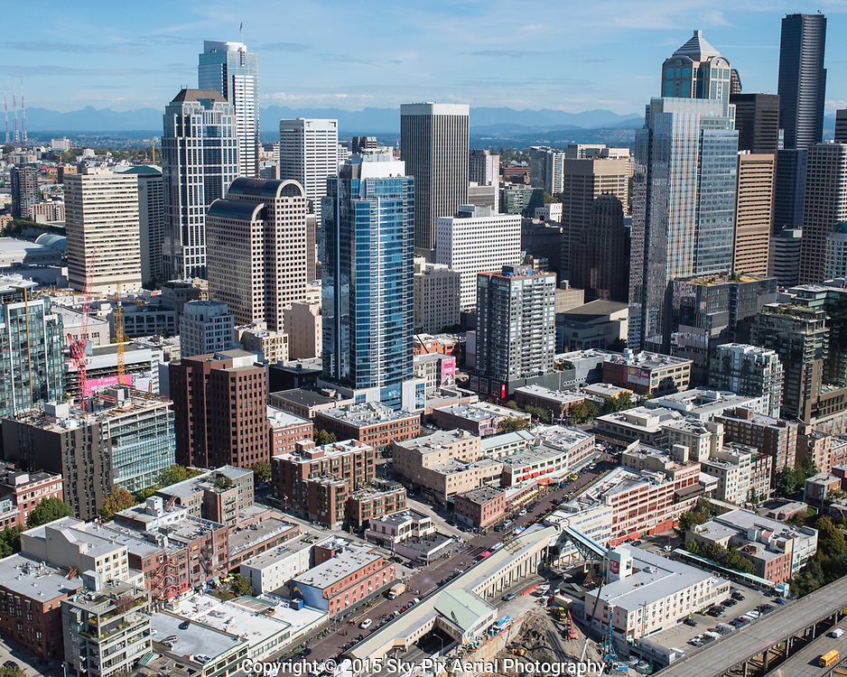 Downtown Seattle Central Business District with Pike Place Market in the foreground.