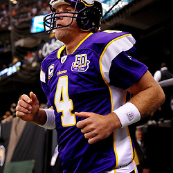 September 9, 2010; New Orleans, LA, USA;  Minnesota Vikings quarterback Brett Favre (4) prior to kickoff of the NFL Kickoff season opener at the Louisiana Superdome. The New Orleans Saints defeated the Minnesota Vikings 14-9.  Mandatory Credit: Derick E. Hingle
