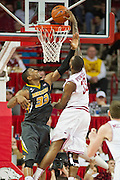 Feb 16, 2013; Fayetteville, AR, USA; Missouri Tigers guard Earnest Ross (33) attempts to block a shot by Arkansas Razorbacks forward Marshawn Powell (33) during a game against the Missouri Tigers at Bud Walton Arena. Arkansas defeated Missouri 73-71. Mandatory Credit: Beth Hall-USA TODAY Sports