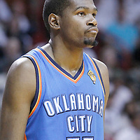 21 June 2012: Oklahoma City Thunder small forward Kevin Durant (35) looks dejected during the Miami Heat 121-106 victory over the Oklahoma City Thunder, in Game 5 of the 2012 NBA Finals, at the AmericanAirlinesArena, Miami, Florida, USA. The Miami Heat wins the series 4-1.