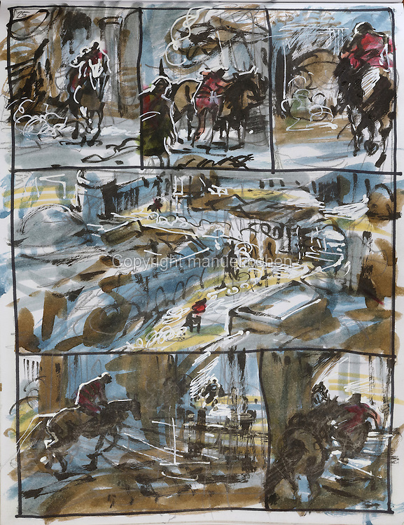 Storyboard page (no. 25) from a sketchbook featuring characters, costumes and storyboards for Le Feu Ecarlate or the Scarlet Fire, Series 35 of the Thorgal comic book series, to be published November 2016, by Grzegorz Rosinski, 1941-, Polish comic book artist. Rosinski was born in Stalowa Wola, Poland, and now lives in Switzerland, and is the author and designer of many Polish comic book series. He created Thorgal with Belgian writer Jean Van Hamme. The series was first published in Tintin in 1977 and has been published by Le Lombard since 1980. The stories cover Norse mythology, Atlantean fantasy, science fiction, horror and adventure genres. Le Feu Ecarlate takes place in Bag Dadh, a city under siege by the Magnus force, where Thorgal must find Aniel and save him from the Red Wizards who made him the reincarnation of their Grand Master Kahaniel. Picture by Manuel Cohen / Further clearances requested, please contact us and/or visit www.lelombard.com