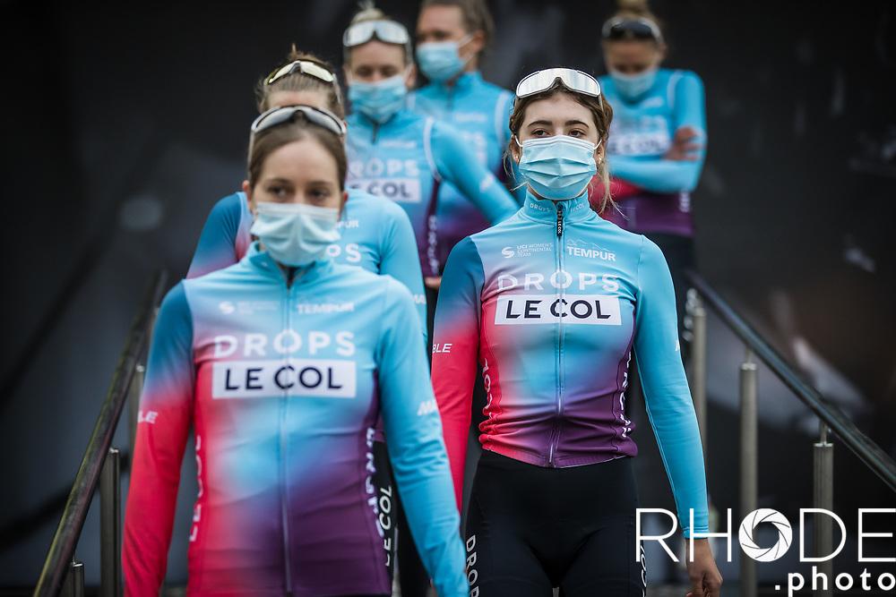 Team Drops-Le Col at the pre race team presentation <br /> <br /> 24th la Flèche Wallonne Féminin 2021 (1.UWT)<br /> 1 Day Race: Huy – Huy 130,5km<br /> <br /> ©RhodePhoto