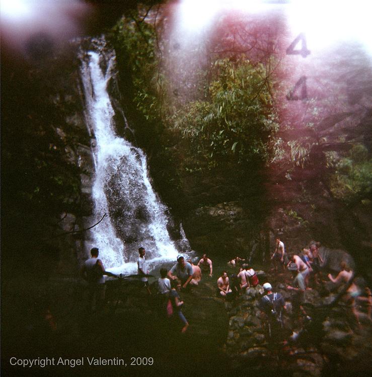 La Mina waterfall in El Yunque Rainforest in Rio Grande Puerto Rico..Photograph made using a HOLGA plastic camera..Photo/Angel Valentin