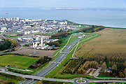 Nederland, Zeeland, Zeeuws-Vlaanderen, 19-10-2014; Terneuzen, zicht op Dow Chemical en de Westerschelde. Ingnag Westerscheldetunnel.<br /> Chemical plant and Western Scheldt.<br /> luchtfoto (toeslag op standard tarieven);<br /> aerial photo (additional fee required);<br /> copyright foto/photo Siebe Swart