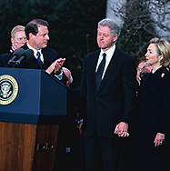 Vice President Al Gore , President Clinton and First Lady Hillary Rodham Clinton of the day of the Senate voteonf the Clinton impeachment .<br />Photo by Dennis Brack