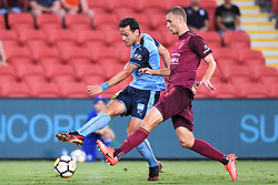 January 8, 2018 - Brisbane, QUEENSLAND, AUSTRALIA - Bobo of Sydney (9, left) shoots on goal during the round fifteen Hyundai A-League match between the Brisbane Roar and Sydney FC at Suncorp Stadium on Monday, January 8, 2018 in Brisbane, Australia. (Credit Image: © Albert Perez via ZUMA Wire)