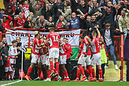 GOAL 1-0. Charlton Athletic midfielder Krystian Bielik (4) celebrates with teammates after scoring a goal during the EFL Sky Bet League 1 second leg Play-Off match between Charlton Athletic and Doncaster Rovers at The Valley, London, England on 17 May 2019.