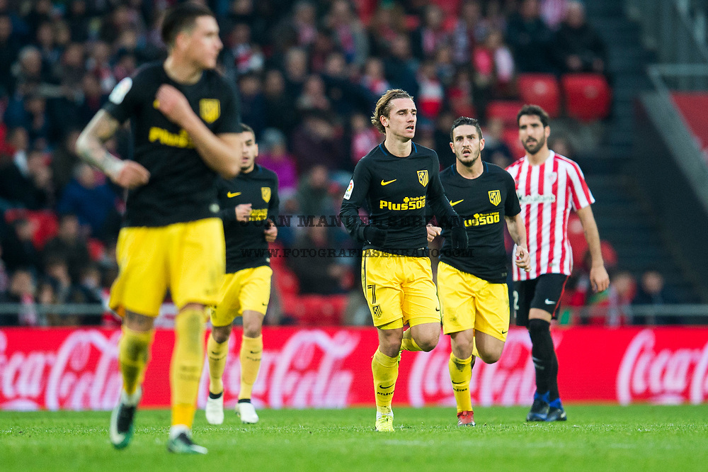 BILBAO, SPAIN - JANUARY 22:  Antoine Griezmann of Atletico Madrid celebrates after scoring his team's second goal during the La Liga match between Athletic Club Bilbao and Atletico Madrid at San Mames Stadium on January 22, 2017 in Bilbao, Spain.  (Photo by Juan Manuel Serrano Arce/Getty Images)