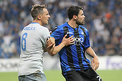 September 14, 2017 - Reggio Emilia, Emilia Romagna, Italy - Phil Jagielka (FC Everton) and Andrea Petagna (Atalanta Bergamasca Calcio) during the first match of Group E of the UEFA Europa League between Atalanta Bergamasca Calcio and FC Everton at Mapei Stadium-Citt del Tricolore on 12 September, 2017 in Reggio Emilia, Italy. ..Atalanta won 3-0 over Everton. (Credit Image: © Massimiliano Ferraro/NurPhoto via ZUMA Press)