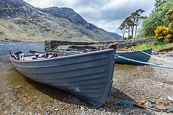 Boats in Doo Lough in Sheeffrey Hills, County Mayo, Ireland