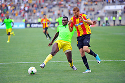 May 12, 2017 - Rades, Tunisia - Fakhreddine Ben Youssef(R)  of  (EST) and Ondo Francisco (5)l of the Vita club during the First day of the group stage of the Champions League  2017 Total  between Esperance Sportive de Tunis (EST) and the formation of AS Vita Club (RD Congo) at the Rades stadium..The Esperance Sportive de Tunis (EST) won by 3/1. (Credit Image: © Chokri Mahjoub via ZUMA Wire)
