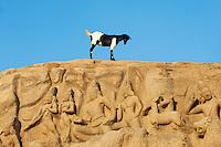 Inde, etat du Tamil Nadu, Mamallapuram ou Mahabalipuram, Ascese de Arjuna ou La Descente du Gange, bas relief, patrimoine mondial de l Unesco // India, Tamil Nadu, Mamallapuram or Mahabalipuram, Arjunas Penance granite carvings, Unesco world heritage