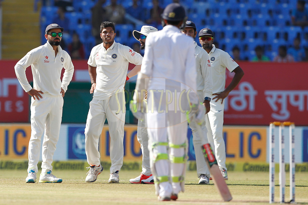 Virat Kohli Captain of India with team mates during day 5 of the first test match between India and England held at the Saurashtra Cricket Association Stadium , Rajkot on the 13th November 2016.<br /> <br /> Photo by: Deepak Malik/ BCCI/ SPORTZPICS