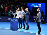 Tennis - 2019 Nitto ATP Finals at The O2 - Day Five<br /> <br /> Doubles Group Jonas Bjorkman: Lukask Kubot & Marcelo Melo vs. Rajeev Ram & Joe Salisbury<br /> <br /> Juan Sebastian Cabal (Columbia) and Robert Farah (Columbia) presented with the ATP Tour No.1 Doubles Team Award by Chris Kermode, Tournament Chairman, Nitto ATP Finals<br /> <br /> COLORSPORT/ASHLEY WESTERN