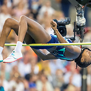 BRUSSELS, BELGIUM:  September 3:   Nafissatou Thiam #4 of Belgium, the olympic heptathlon gold medal winner in Tokyo, in action in the high jump for women competitionduring the Wanda Diamond League 2021 Memorial Van Damme Athletics competition at King Baudouin Stadium on September 3, 2021 in  Brussels, Belgium. (Photo by Tim Clayton/Corbis via Getty Images)