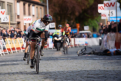 Elena Cecchini looks back to the fallen Marianne Vos at Dwars door de Westhoek 2016. A 127km road race starting and finishing in Boezinge, Belgium on 24th April 2016.