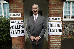 © Licensed to London News Pictures. 23/06/2016. Biggin Hill, UK. UKIP party leader Nigel Farage votes in the EU referendum. Polls have opened for voting - with counting starting after polls close at 10PM.Photo credit: Peter Macdiarmid/LNP
