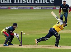 Hampshire Captain James Adams is bowled - Photo mandatory by-line: Robbie Stephenson/JMP - Mobile: 07966 386802 - 22/05/2015 - SPORT - Football - Southampton - Ageas Bowl - Hampshire v Kent Spitfires - T20 Blast