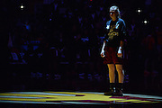March 18, 2016; Tempe, Ariz;  New Mexico State Aggies forward Brook Salas (5) is introduced before a game between No. 2 Arizona State Sun Devils and No. 15 New Mexico State Aggies in the first round of the 2016 NCAA Division I Women's Basketball Championship in Tempe, Ariz. The Sun Devils defeated the Aggies 74-52.