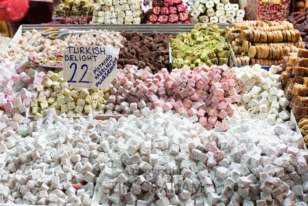 Traditional sweetsmeats Turkish Delight, Lokum, in Misir Carsisi Egyptian Bazaar food and spice market, Istanbul, Turkey