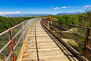The Manuherikia River bridge on the Otago Central Rail Trail, Otago, South Island, New Zealand