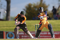 Mangaliso Mosehle of Gauteng square cuts a delivery during the Africa T20 cup pool D match between Boland and Gauteng held at the Boland Park cricket ground in Paarl on the 25th September 2016.<br /> <br /> Photo by: Shaun Roy/ RealTime Images