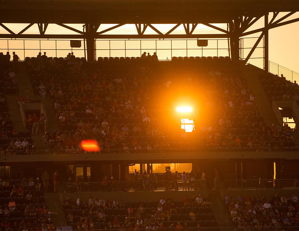 Light filters through Citizens Bank Park as the sun sets.