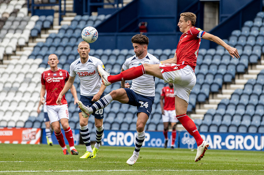 Preston North End's Sean Maguire competing with Nottingham Forest's Michael Dawson (right) <br /> <br /> Photographer Andrew Kearns/CameraSport<br /> <br /> The EFL Sky Bet Championship - Preston North End v Nottingham Forest - Saturday 11th July 2020 - Deepdale Stadium - Preston <br /> <br /> World Copyright © 2020 CameraSport. All rights reserved. 43 Linden Ave. Countesthorpe. Leicester. England. LE8 5PG - Tel: +44 (0) 116 277 4147 - admin@camerasport.com - www.camerasport.com