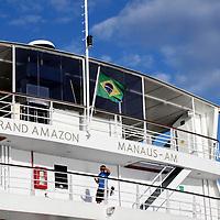 South America, Brazil. Amazon River. Iberostar Grand Amazon Stern.