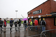 Newport Fans line up for their ticket refunds at Rodney Parade before k/o as the match is called off due to a waterlogged pitch. The Emirates FA cup, 3rd round match, Newport county v Blackburn Rovers at Rodney Parade in Newport, South Wales on Saturday 9th Jan 2016.<br /> pic by Andrew Orchard, Andrew Orchard sports photography.