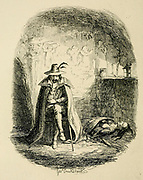Guy Fawkes in Ordsall Cave  From the book ' Guy Fawkes; or, The gunpowder treason. An historical romance ' by William Harrison Ainsworth,, with illustrations on steel by  George Cruikshank. Published in London, by George Routledge and sons, limited in 1841. Guy Fawkes (13 April 1570 – 31 January 1606), also known as Guido Fawkes while fighting for the Spanish, was a member of a group of provincial English Catholics who was involved in the failed Gunpowder Plot of 1605. He was born and educated in York; his father died when Fawkes was eight years old, after which his mother married a recusant Catholic.