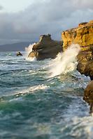 Waves crashing along Cape Kiwanda. Pacific City, OR