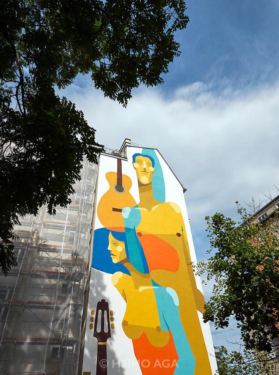 House Art, Austria. Vienna, Calle Libre street art festival. 'Maestros' by Zësar Bahamonte (2018)