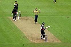 Gareth Berg of Hampshire celebrates bowling Johann Myburgh of Somerset  - Mandatory by-line: Robbie Stephenson/JMP - 19/06/2016 - CRICKET - Cooper Associates County Ground - Taugnton, United Kingdom - Somerset v Hampshire - NatWest T20 Blast