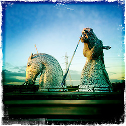 The Kelpies, Falkirk.<br /> Picture taken with the Hipstamatic iPhone photo app.