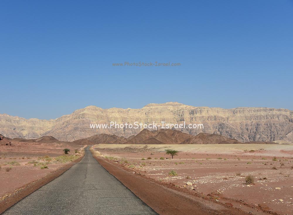 Straight road to the horizon at Timna Park,  Arava, near Eilat, Israel