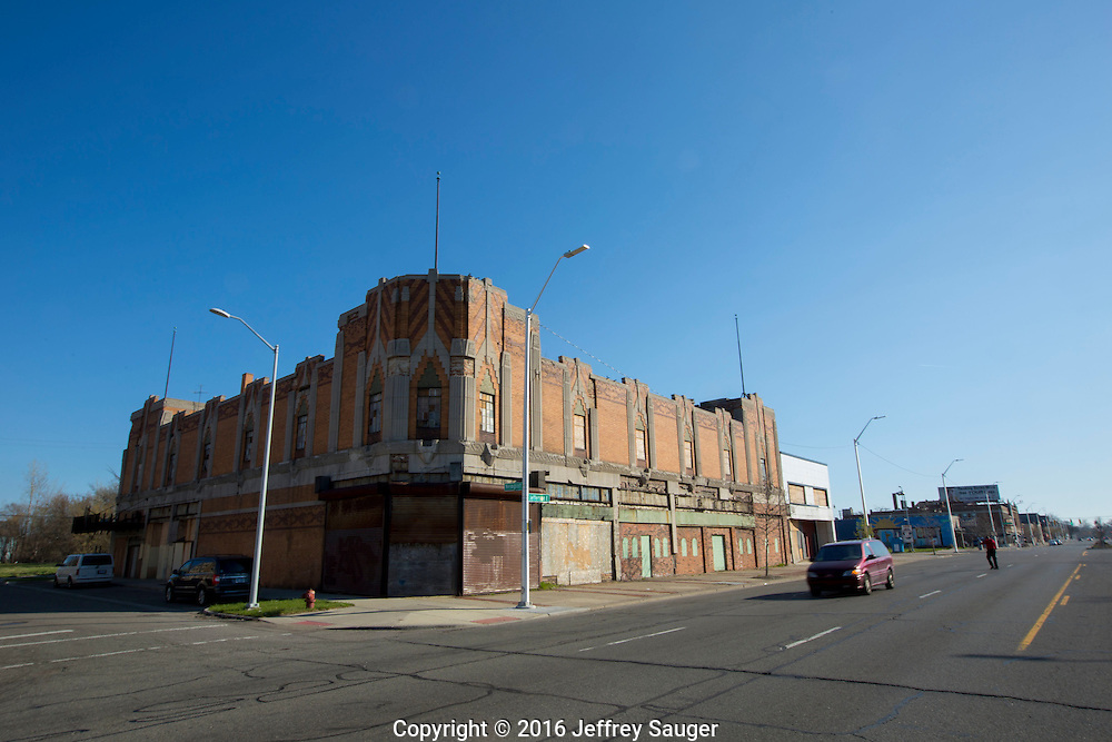 The Vanity Ballroom Building on Jefferson Avenue in the Jefferson-Chalmers Historic Business District and neighborhood in Detroit, Michigan, Wednesday, April 20, 2016. One of the last, intact ballrooms from Detroit's big band heyday from the 1930s-1950s, it's dance floor was built on springs that compressed under the weight of the crowds. Listed on the National Register of Historic Places in 1982, it was designed in 1929 by Charles N. Agree and hosted major acts like Tommy Dorsey, Jimmy Dorsey, Duke Ellington, Benny Goodman and others. <br /> <br /> On September 7, 2016, The National Trust for Historic Preservation gave the Jefferson-Chalmers neighborhood in Detroit's lower east side the distinction of a National Treasure. This is the first in the state of Michigan and the first project under the National Trust's ReUrbanism initiative. (Photo by Jeffrey Sauger )