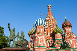 stock photo of the Saint Basil's Cathedral and the monument to minin and pozharsky