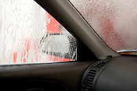 Inside car during automatic car wash