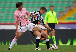 Armin Bacinovic of Palermo vs Denis German Gustavo of Udinese during football match between Udinese Calcio and Palermo in 8th Round of Italian Seria A league, on October 24, 2010 at Stadium Friuli, Udine, Italy.  Udinese defeated Palermo 2 - 1. (Photo By Vid Ponikvar / Sportida.com)
