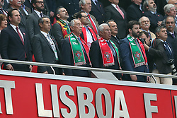 June 7, 2018 - Lisbon, Portugal - Portugal's President Marcelo Rebelo de Sousa (bottom C) and Portugal's Prime Minister Antonio Costa (2nd R) listens to the national anthems during the FIFA World Cup Russia 2018 preparation football match Portugal vs Algeria, at the Luz stadium in Lisbon, Portugal, on June 7, 2018. (Portugal won 3-0) (Credit Image: © Pedro Fiuza/NurPhoto via ZUMA Press)