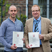 24.05.2018.       <br /> The Limerick Institute of Technology with Atlantic Air Adventures and funding from the Aviation Skillnet presented over forty certificates to Aviation professionals who have completed the Certificate in Aviation, The Aircraft Records Technician Level 7 and Part 21 Design, Level 7.<br /> <br /> Pictured at the event were, Part 21 cert recipients from UTC Aerospace, Niall O'Dowd, and Bernard Murray.<br /> <br /> LIT in partnership with Atlantic Air Adventures, CAE Parc Aviation, Part 21 Design and industry experts such as Anton Tams, GECAS, Don Salmon, CAE Parc Aviation and Mick Malone, Part 21 Design have developed and deliver these key training programmes with funding for aviation companies provided by The Aviation Skillnet.<br /> <br /> . Picture: Alan Place
