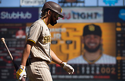 Oct 3, 2021; San Francisco, California, USA; San Diego Padres shortstop Fernando Tatis Jr. (23) walks back to the dugout after striking out against San Francisco Giants starting pitcher Logan Webb during the sixth inning at Oracle Park. Mandatory Credit: D. Ross Cameron-USA TODAY Sports