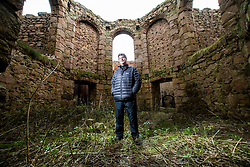 Dacre Stoker, distant relative of Bram Stoker, at Slains Castle. In 1895 the author Bram Stoker visited the area, staying at a cottage near Cruden Bay. The castle is commonly cited as an inspiration for Stoker's 1897 novel Dracula.