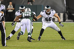 Philadelphia Eagles tackle Andrew Gardner (66) and Philadelphia Eagles guard Josh Andrews (68) during the game against the New York Jets at Lincoln Financial Field on Aug 28, 2014 in Philadelphia, Pa. (Photo by John Geliebter/Philadelphia Eagles