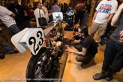 Keino Sasaki and Lock Baker make the rounds studying all the cool tech things on the custom bikes on Saturday at the Handbuilt Motorcycle Show. Austin, TX. April 11, 2015.  Photography ©2015 Michael Lichter.